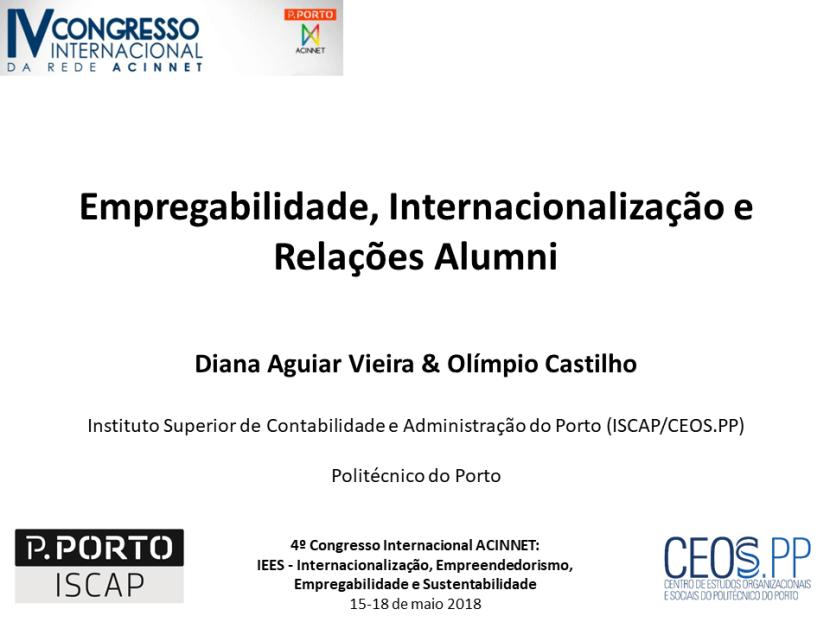 Empregabilidade, Internacionalização e Relações Alumni |4º Congresso Internacional ACINNET, Porto,Portugal
